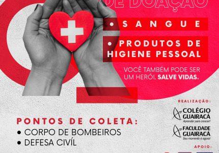 Guairacá realiza campanhas de doação de sangue e arrecadação de produtos de higiene